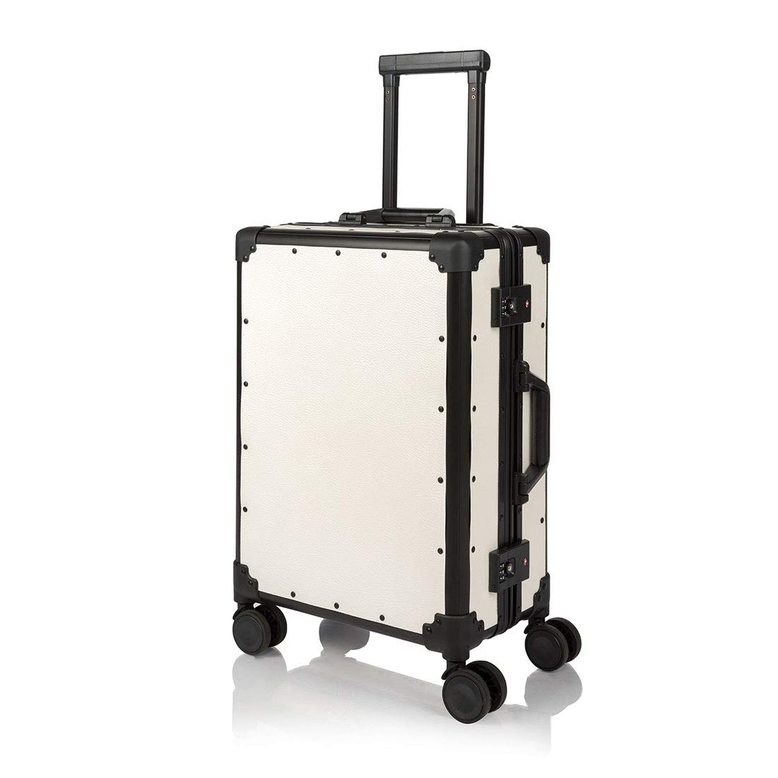 "COTRUNKAGE Hardside Aluminum Frame Spinner Wheels Carry On Luggage with TSA Lock (20"", White)"