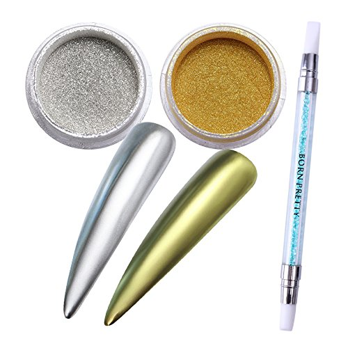 BORN PRETTY 2 Boxes Mirror Powder Gold Silver Pigment for Metal manicuring Glitter with 1Pc Brush Pen