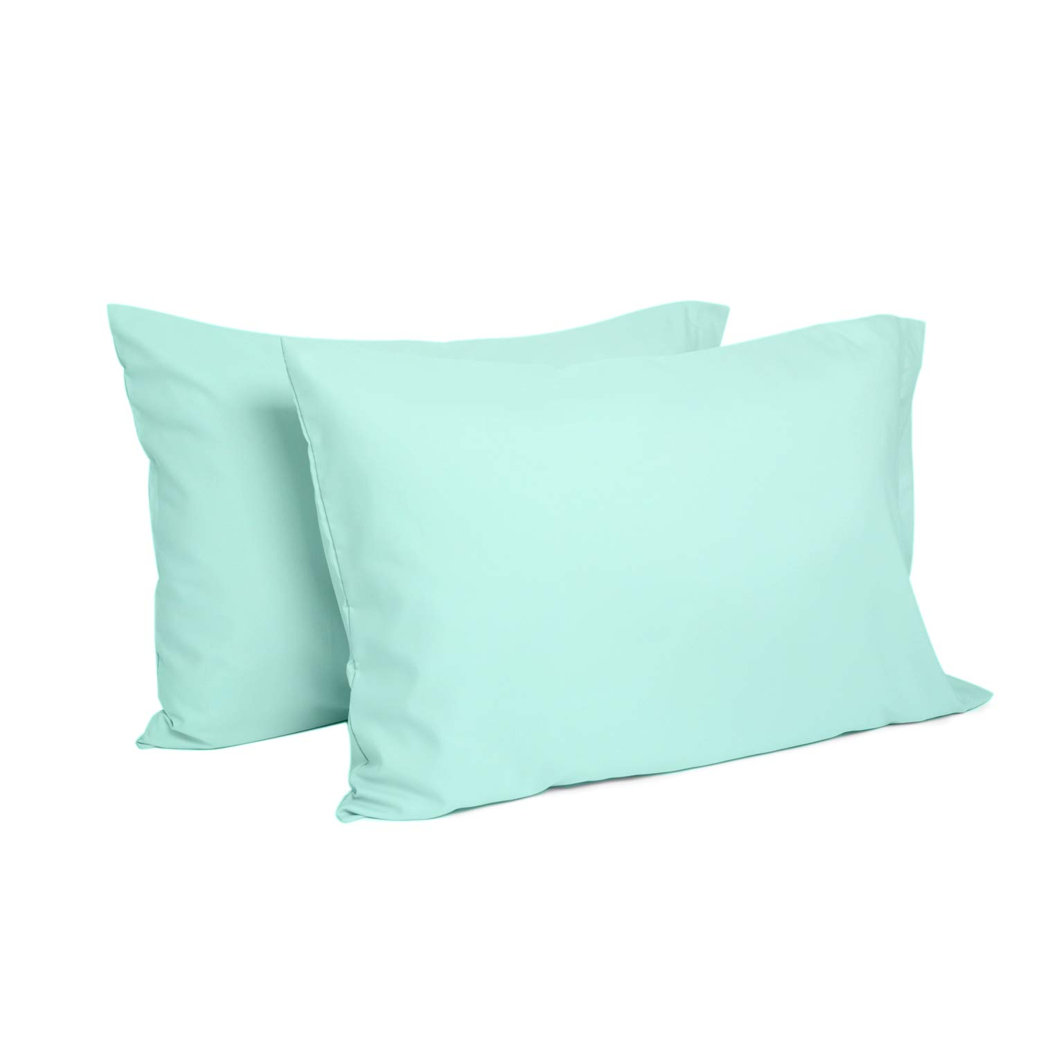 TILLYOU Toddler Travel Pillowcases Set of 2, 14x20- Fits Pillows Sized 12x16, 13x18 or 14x19, 100% Silky Soft Microfiber, Envelope Closure Machine Washable Kids Pillow Cases, Aqua