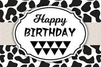 Baocicco 6x4ft Polyester Happy Birthday Backdrop Black and White Cow Spots Banner Photography Background Farm Theme Birthday Party Decorations Baby Shower The Cow Party West Farm Party Boys Girls