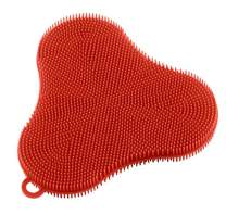 Kuhn Rikon 20441 Stay Clean Silicone Clover Scrubber, standard, red