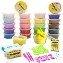 TIENCIY 24 Colorful Air Dry Clay Kit for Slime with Resealable Box,Great for Kids