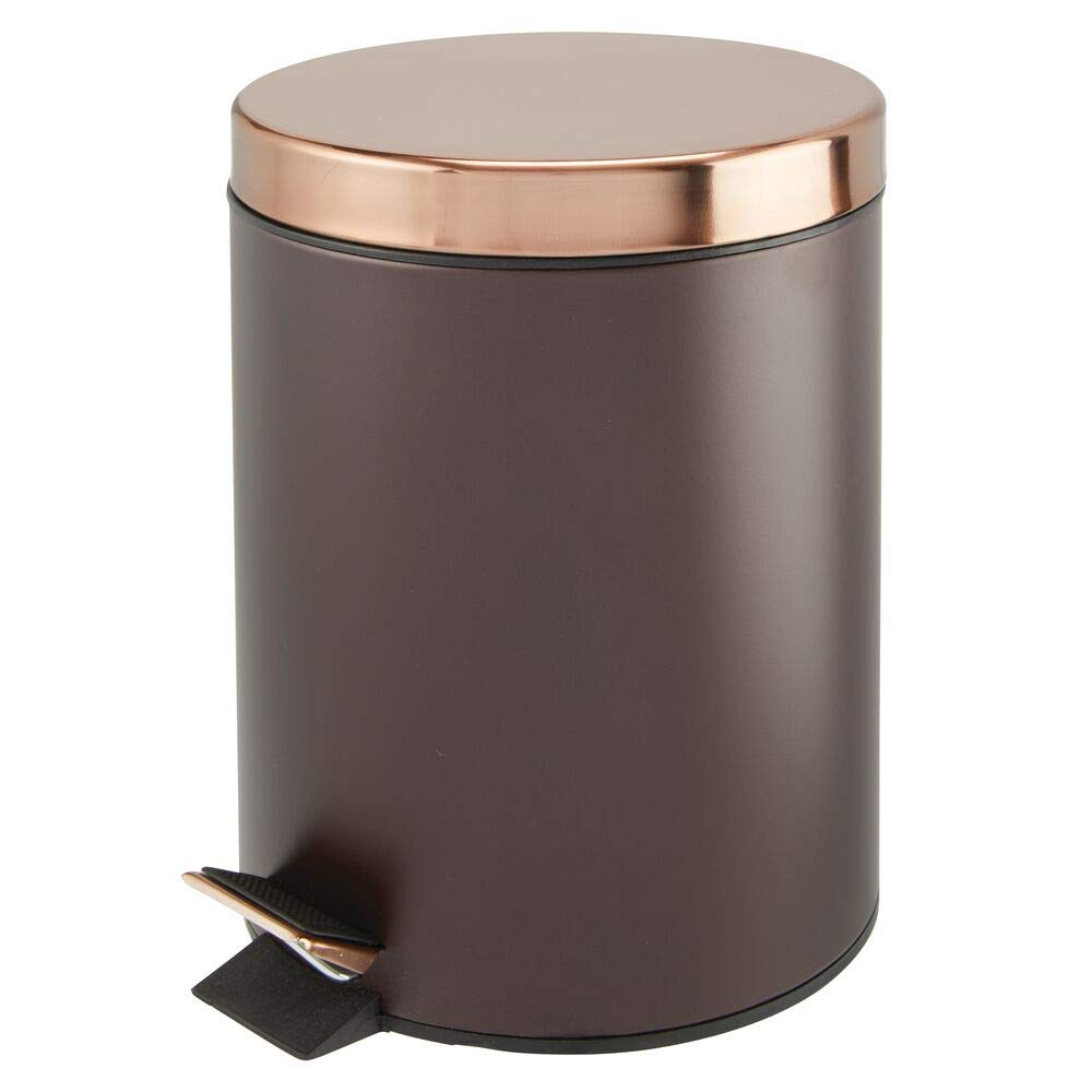 mDesign 5 Liter Round Small Metal Step Trash Can Wastebasket, Garbage Container Bin - for Bathroom, Powder Room, Bedroom, Kitchen, Craft Room, Office, Removable Liner Bucket - Bronze/Rose Gold