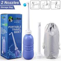 Portable Travel Bidet for Toilet, 420ml Peri Bottle 15oz, with 2 Nozzle + Dust Cap, Handheld Personal Bidet Empty Bottle - Childbirth Cleaner - For Camping,Travling - with Storage Bag