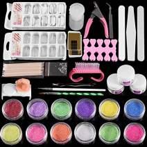 Acrylic Nail Kit Set, Powder Shiny Glitter Nail Art Tools Full Kit, Professional DIY Gel Nail Kit Manicure Set