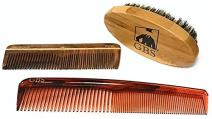 "GBS Beard Brush & Hair Comb Kit Ultimate Grooming, Shaping, Styling Set - Natural Boar Bristle Beard Brush Oval Bamboo Handle, Wooden Pocket Comb & Tortoiseshell 7"" Dressing Comb Anti Static No Snag"