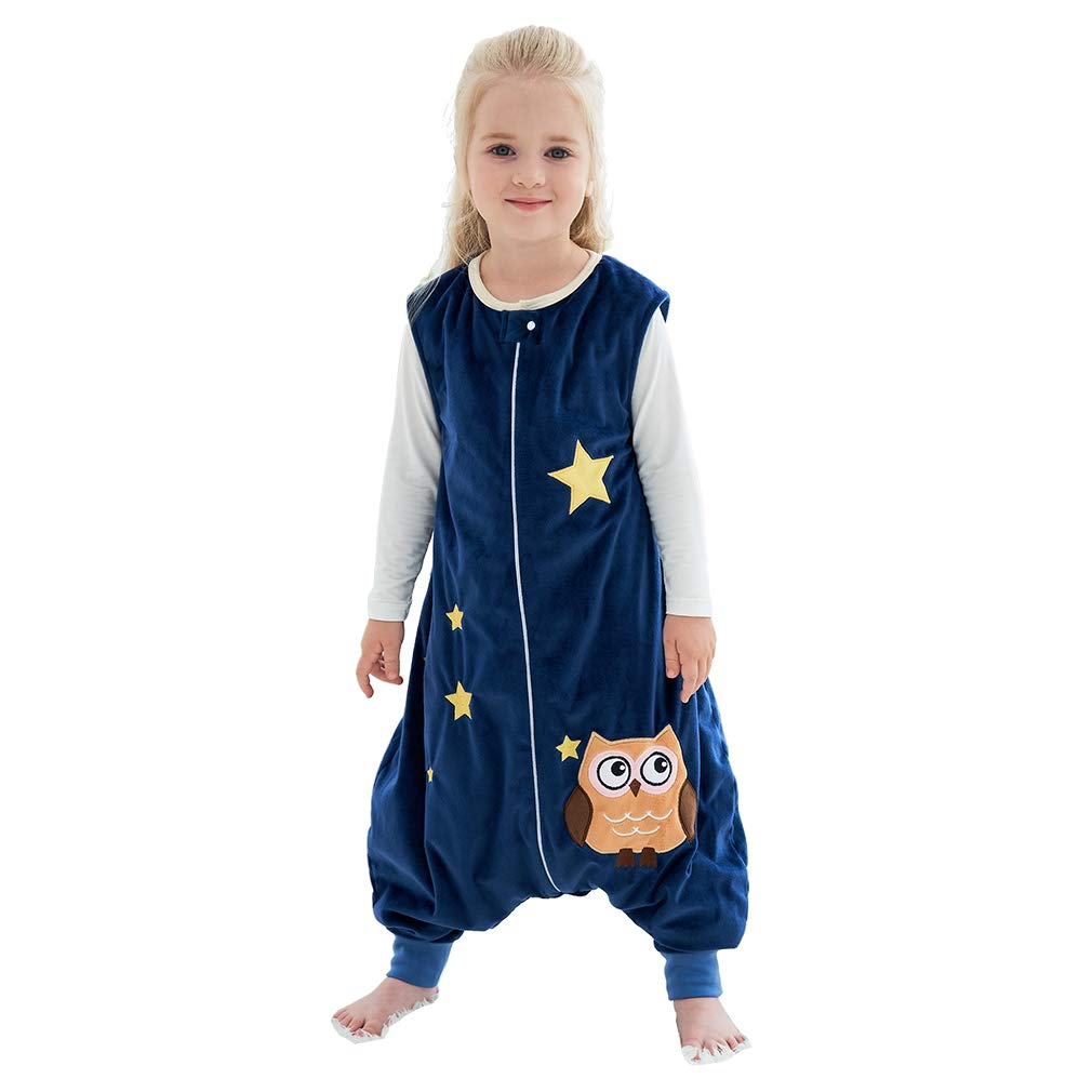IDGIRLS Unisex Baby Sleeping Bag Spring Wearable Blanket with Legs for Toddler, Blue L