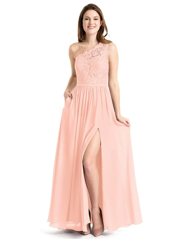 Stylefun Women's One Shoulder Bridesmaid Dress Lace Chiffon A Line Prom Gown with Pockets BD035