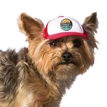 PupLid Trucker Hats for Dogs (XXS) (Red, All-Terrain) Stylish Sun Protection Dog Hat for Tiny Toy Breeds Under 8 lbs - Adjustable Chinstrap & Ear Holes for Secure Comfortable Fit