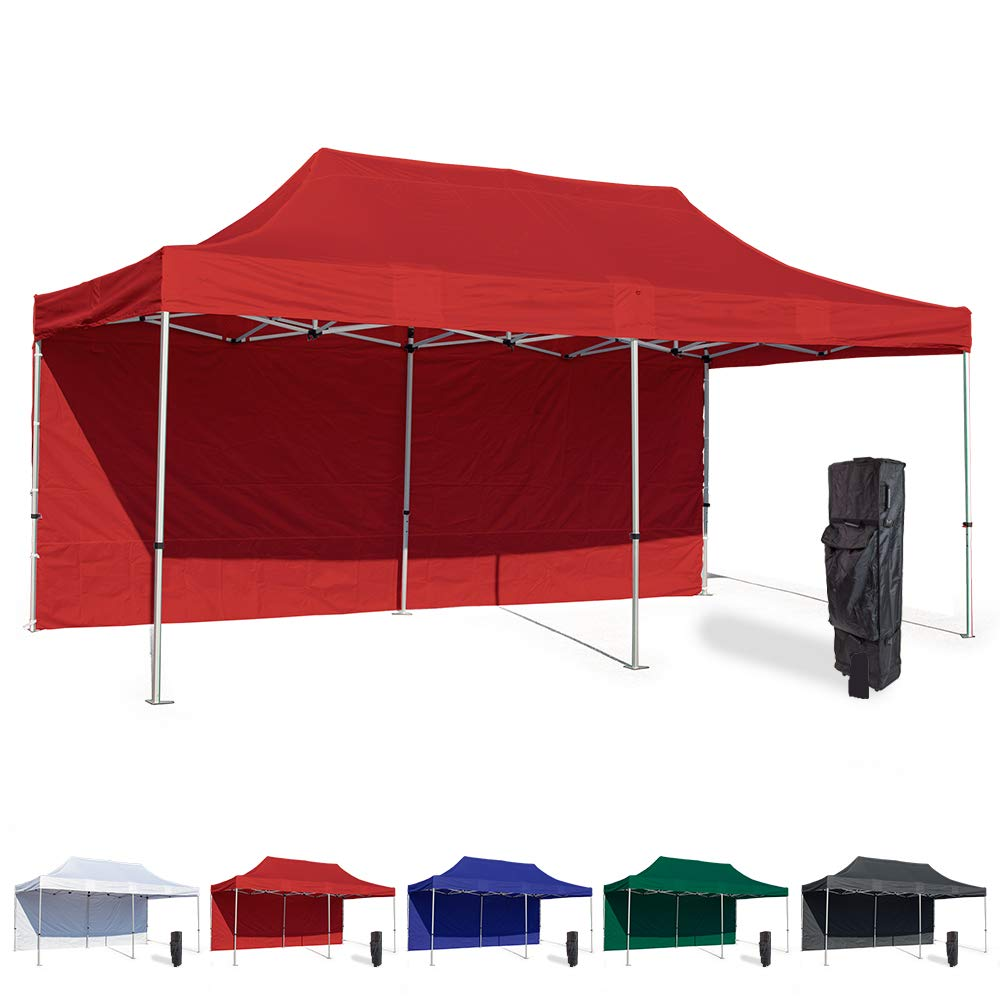 Vispronet 10x20 Instant Canopy Tent and Side Wall – Commercial Grade Steel Frame with Water-Resistant Canopy Top and Sidewall – Bonus Canopy Bag and Stake Kit Included (Red)