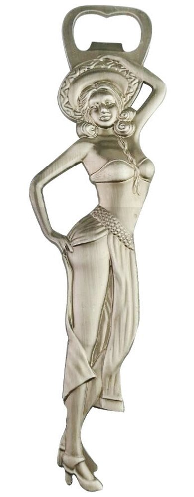 Creative Vintage Wrought Iron Art Craftwork Metal Anti-Silver Sexy Dancing Russian Girl Lady With Sombrero 3D Beer Soda Drink Bottle Opener Decapper Gadget Tool Device Gift