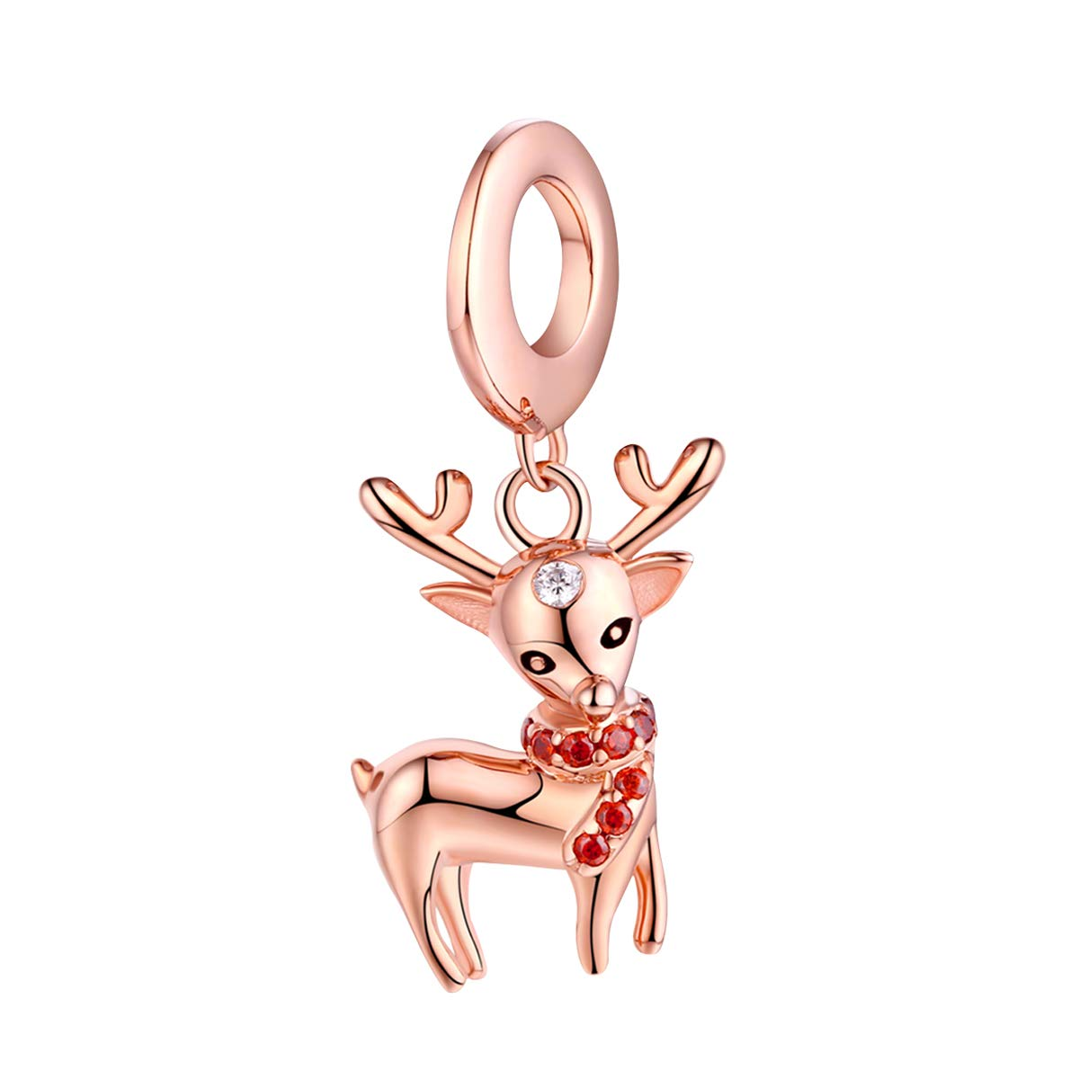 FOREVER QUEEN Deer Bead Elk Head Charms fit for Pandora Bracelets 925 Sterling Silver with Cubic Zirconia Jewelry