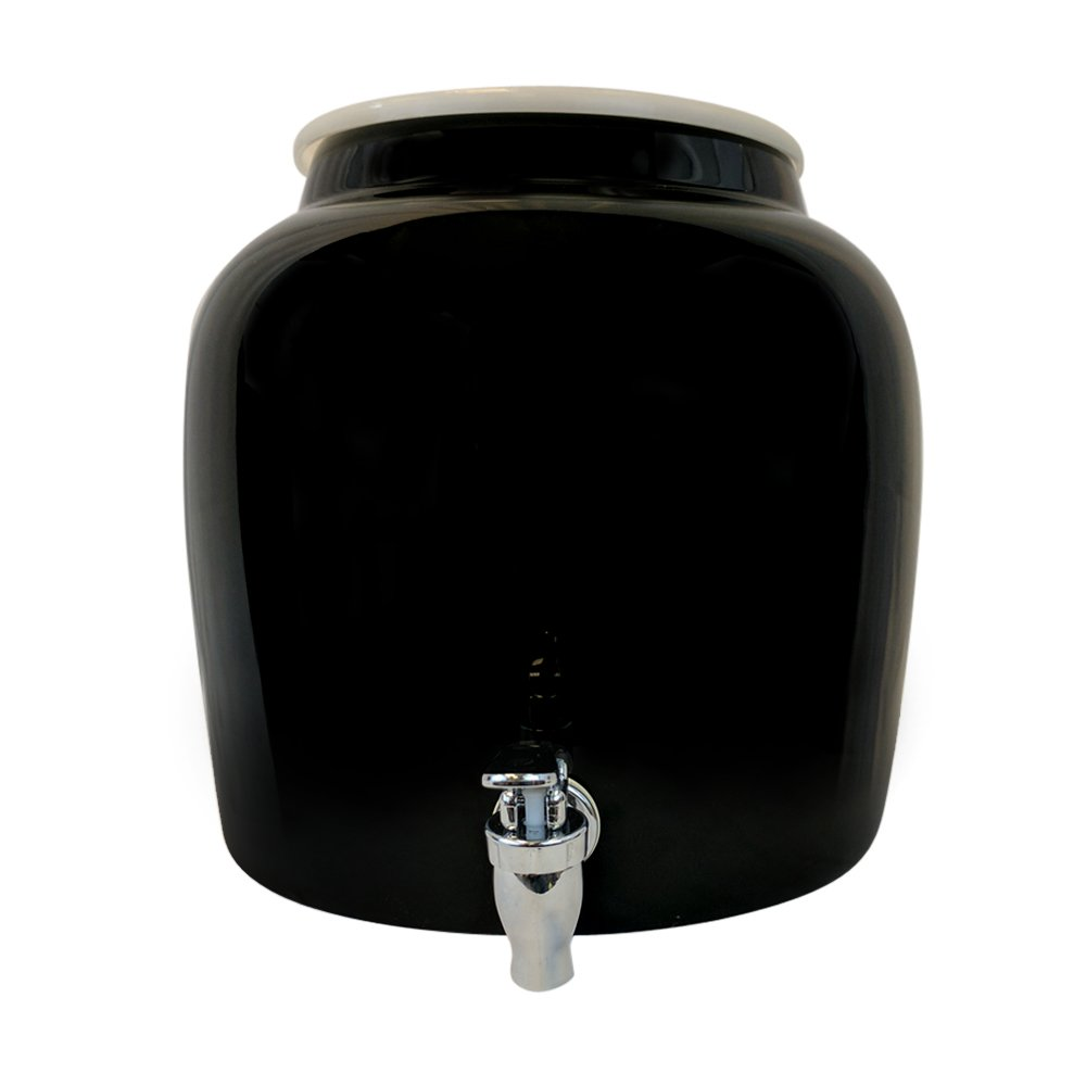 Porcelain Water Dispenser Crock - 2.5 Gallons - Comes with Crock Ring Protector and Chrome Painted Spigot Faucet - For Use With Water, Kombucha, Punch and More - Black