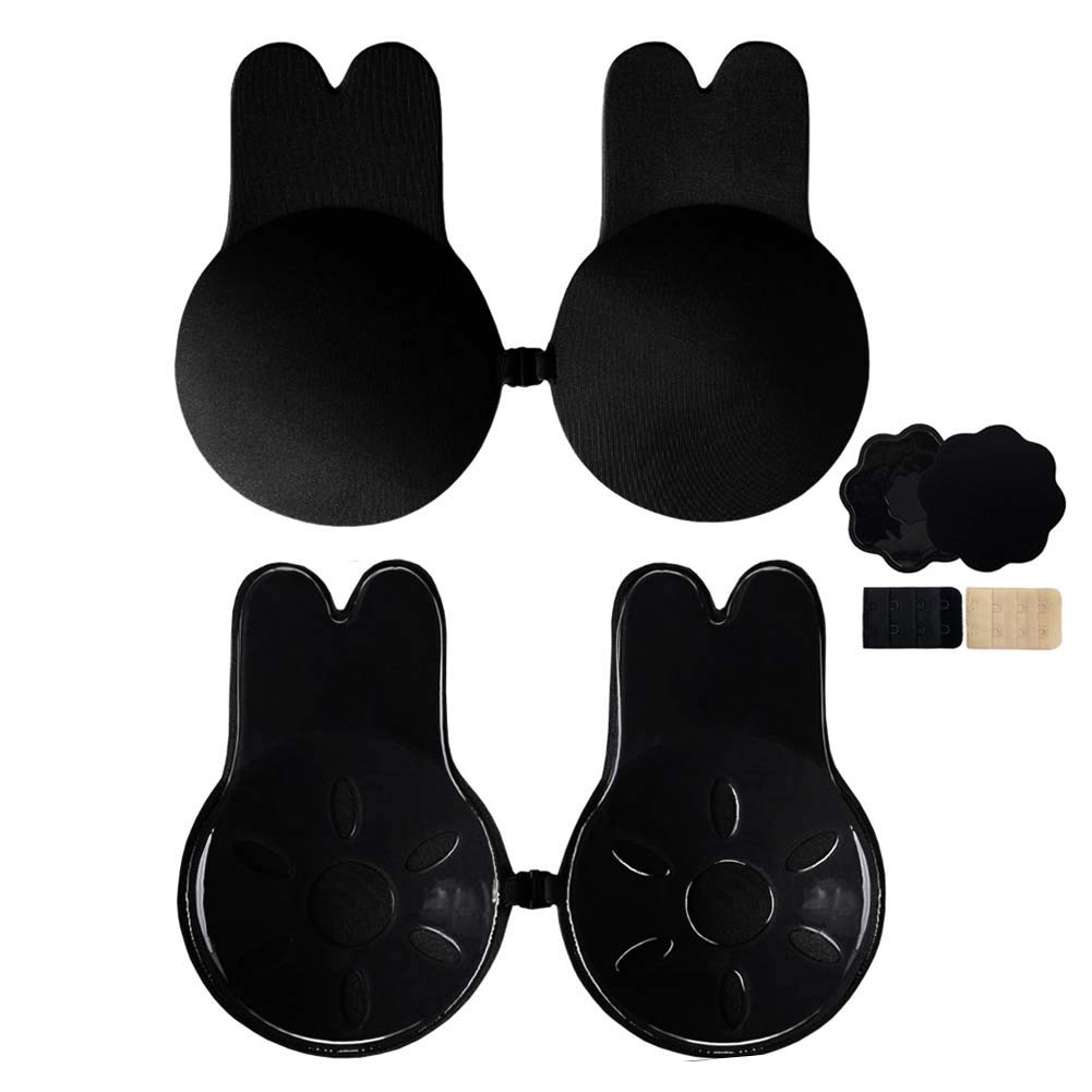 Invisible Lift Up Bra Adhesive Push Up Bras Strapless Backless Women Sticky Nipple Cover Breast Tape with Rabbit Ear 2 Pack