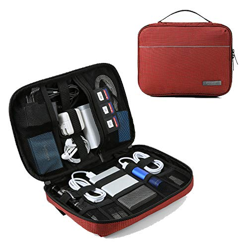BAGSMART Travel Cable Organizer Cases Electronics Accessories Storage Bag for Hard Drives, Cables, Red