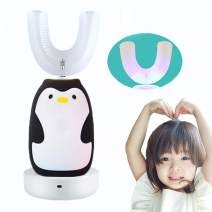 FEISIKE U-Shaped 360°Automatic Electric Toothbrush for Kids,Autobrush for Kid,2 Braces of Different Ages,3 Optional Modes,IPX7 waterproof,Cute Penguin Brush (Black)