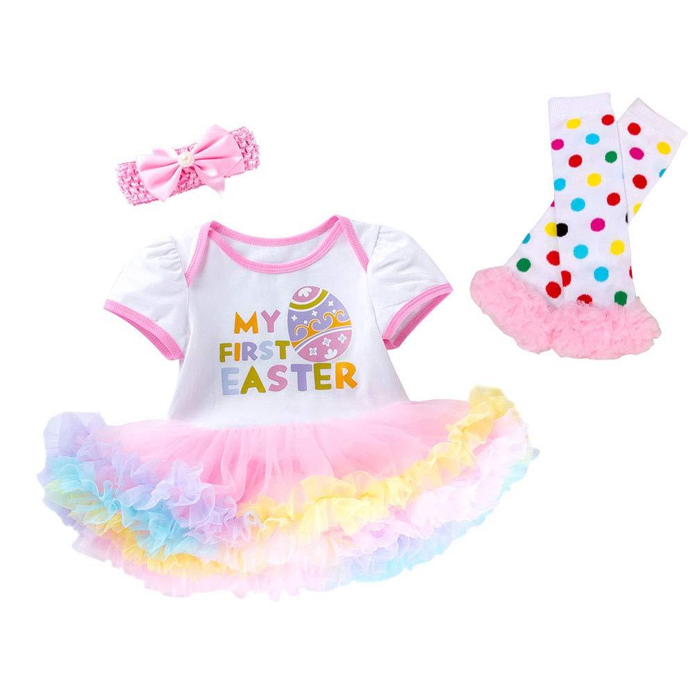 Xifamniy Baby Girls My First Easter Outfit Newborn 3Pcs Egg Tutu Romper Dress Bodysuit Headband Legging Socks Skirt Set