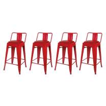GIA 24-Inch Low-Back Counter Height Stool, 4-Pack, Red/Red Faux Leather Seat