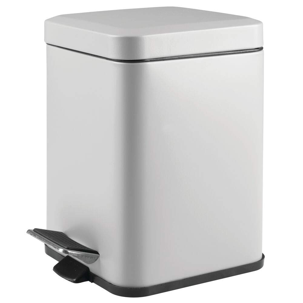mDesign 1.5 Gallon Square Small Metal Step Trash Can Wastebasket, Garbage Container Bin for Bathroom, Powder Room, Bedroom, Kitchen, Craft Room, Office - Removable Liner Bucket - Gray