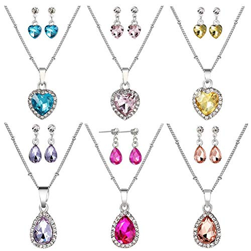 PinkSheep Jewel Stud Earrings and Necklace for Little Girls, 6 Sets, Heart and Water Drop Diamond Birthstone Earrings and Necklace, Party Favors Bag