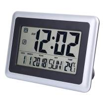 perfeo Large Display Digital Wall Clock Desk Alarm Clock with Calendar & Temperature Battery Operated Decoration Clock for Kitchen Bedroom Office School Without Backlight