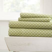 Simply Soft 4 Piece Sheet Set Scallops Patterned, Full, Sage