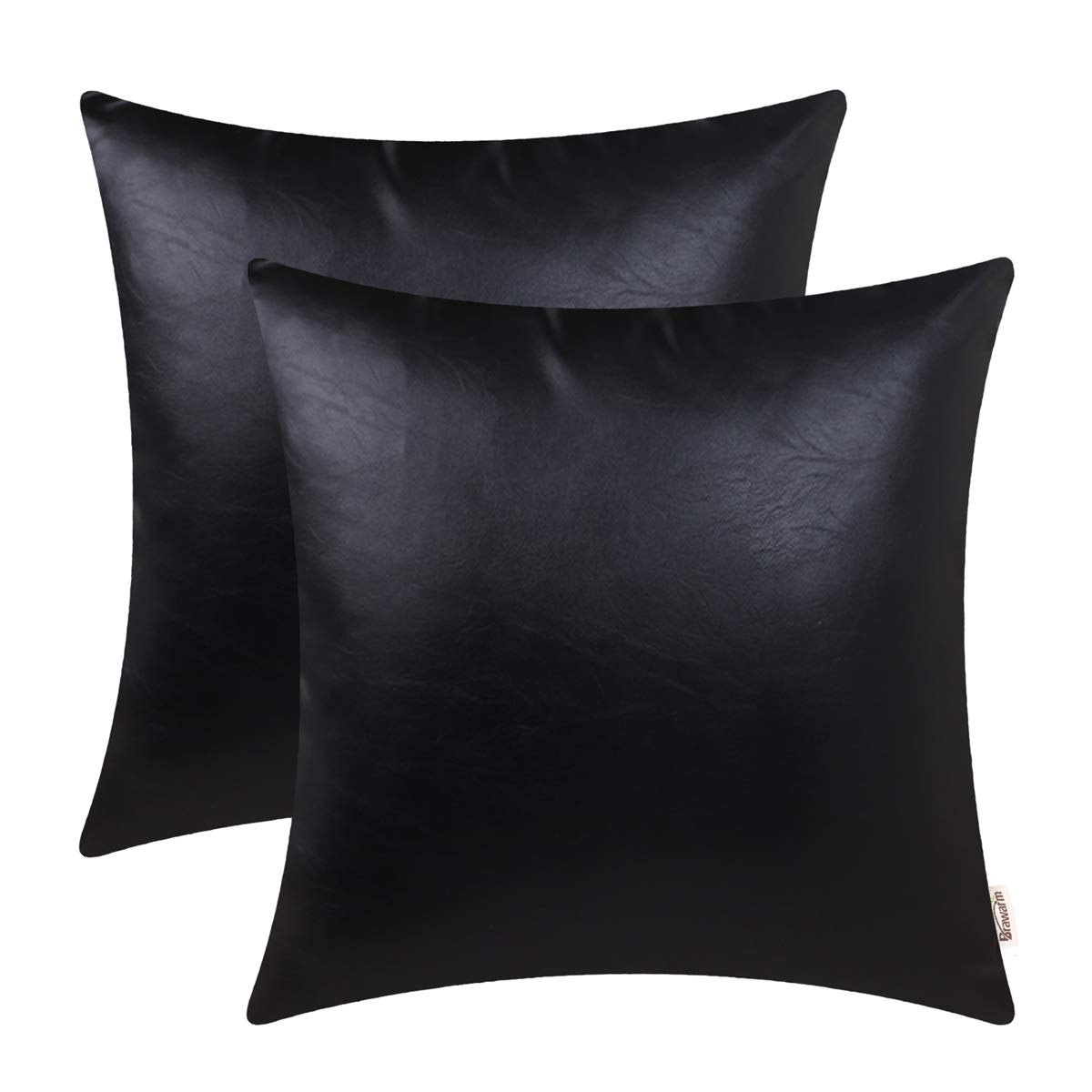 BRAWARM Pack of 2 Cozy Throw Pillow Covers Cases for Couch Sofa Home Decoration Solid Dyed Soft Faux Leather Both Sides 22 X 22 Inches Black