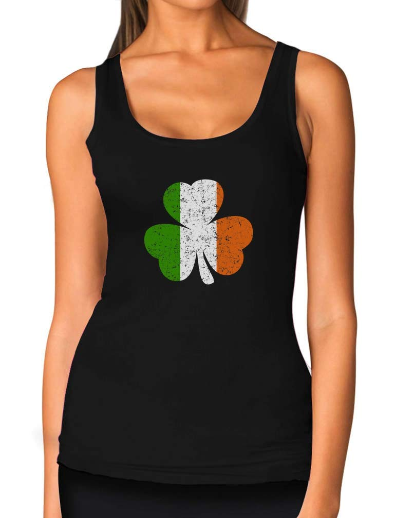 Ireland Shamrock Distressed Irish Flag Clover St. Patrick's Day Women Tank Top