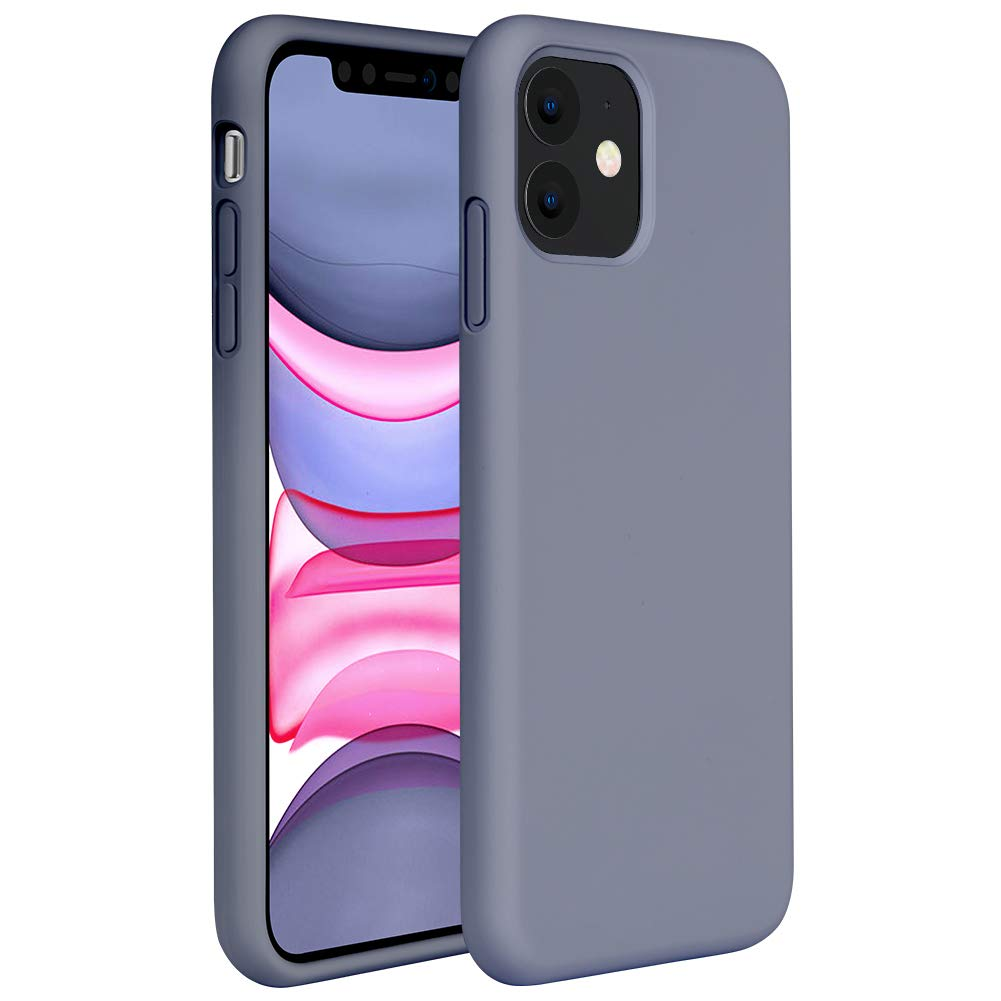 Miracase Liquid Silicone Case Compatible with iPhone 11 6.1 inch(2019), Gel Rubber Full Body Protection Shockproof Cover Case Drop Protection Case (Lavender Gray)