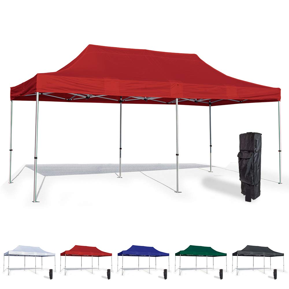 Vispronet 10x20 Pop Up Canopy Tent – Durable Steel Frame with Water-Resistant Polyester Fabric Top – Heavy Duty Wheeled Canopy Bag and Stake Kit Included (Red)