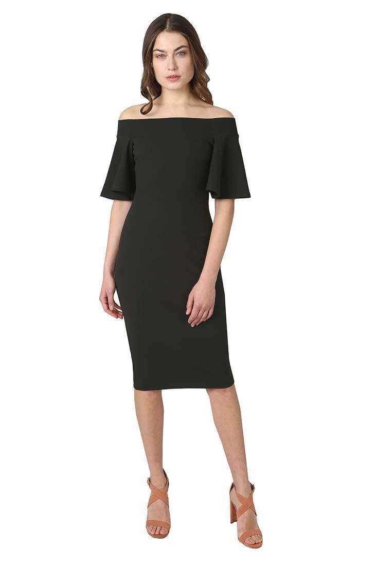 bebe Women's Off Shoulder Bell Sleeve Scuba Crepe Midi Dress