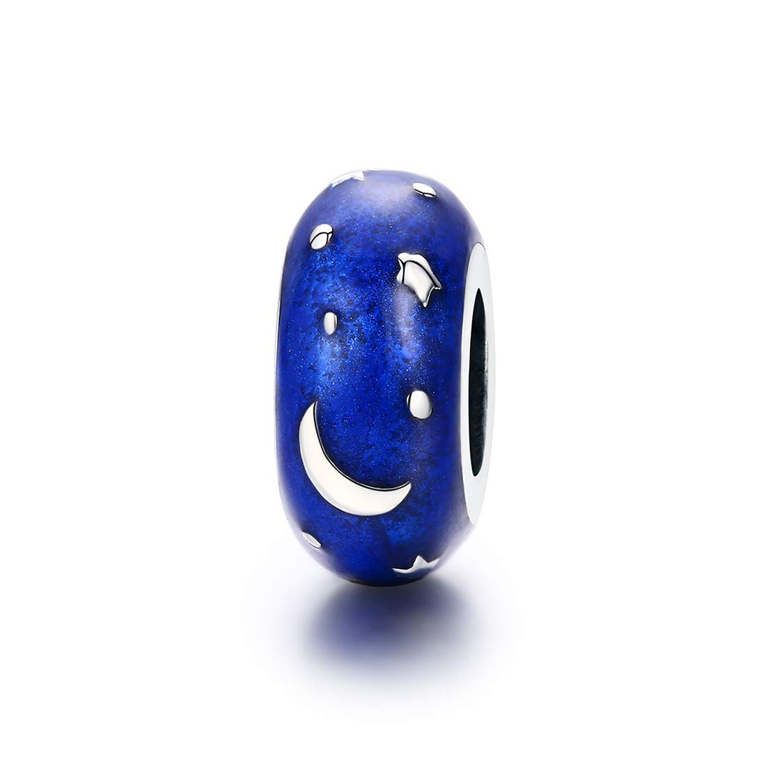 DALARAN Clip Stopper Charms Sterling Silver Rondelle Blue Moon Star Spacer Bead for Bracelets