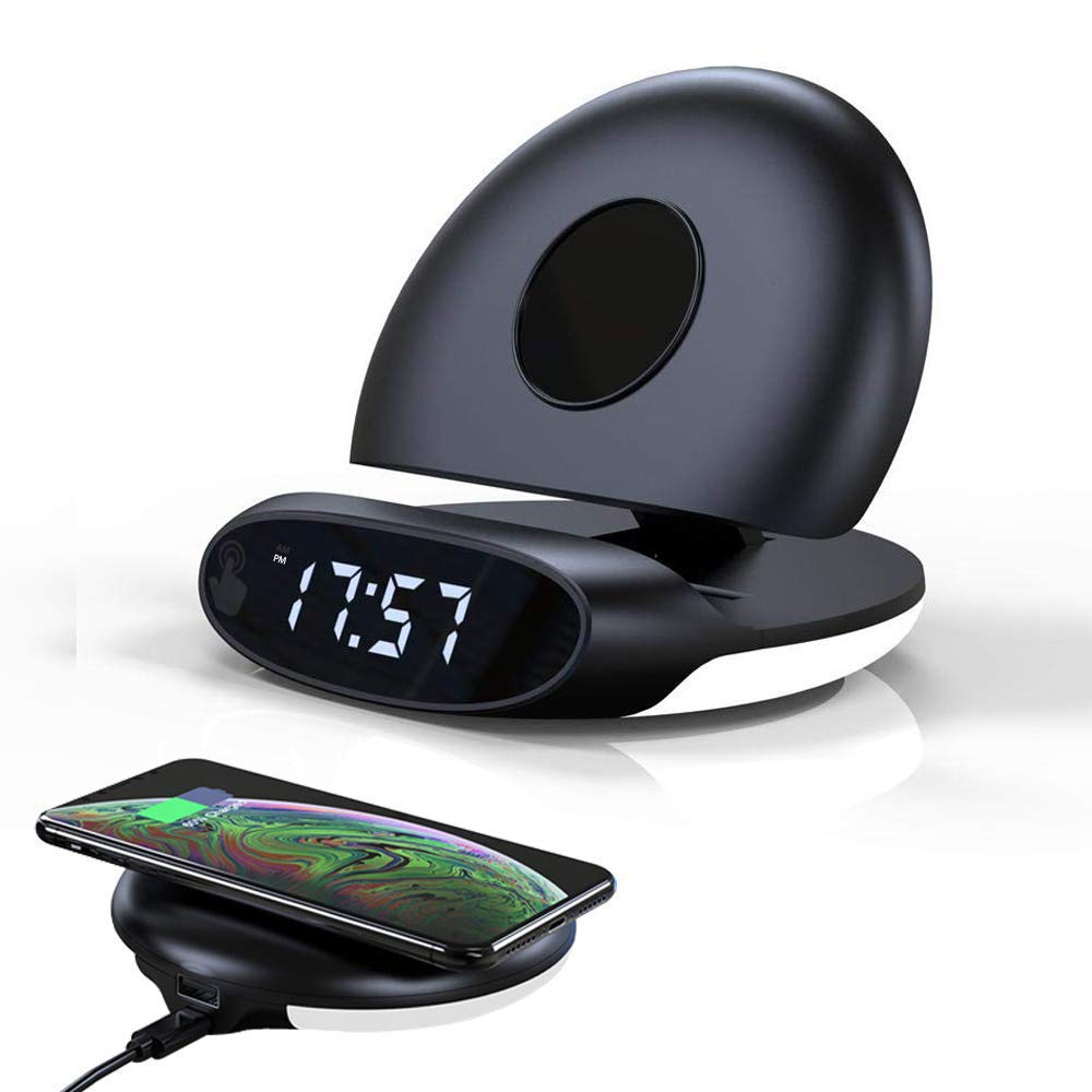 Amposei Wireless Charging Alarm Clock Foldable Stand 12/24 Hour Digital Alarm Clock with LED Night Light USB Charger Compatible with iPhone 11/11 Pro/11 Pro Max/Xs MAX/XR/XS/X/8, Galaxy S10+/S9/Note10