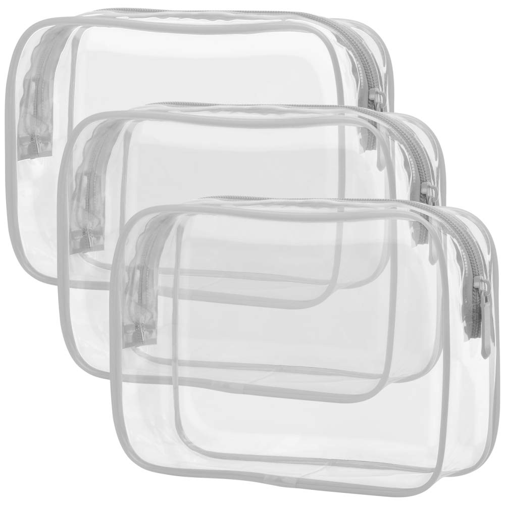 Clear Makeup Bag, Packism Waterproof TSA Approved Toiletry Bag Quart Size Bag, Clear Makeup Bags with Zipper Travel Cosmetic Bag, Carry on Airport Airline Compliant Bag, 3 Pack, Grey
