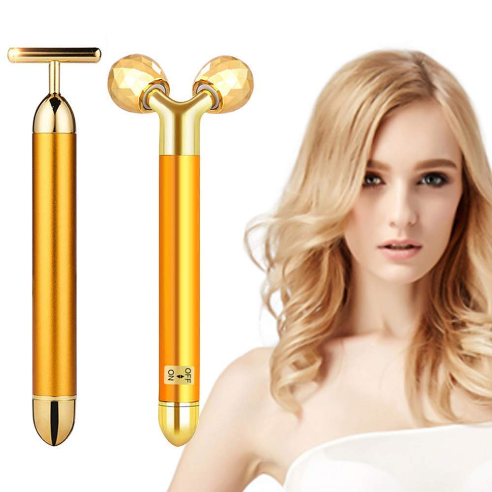 2-IN-1 Beauty Bar 24k Golden Pulse Facial Face Massager, Electric 3D Roller and T-Shape Forehead Cheek Neck Eye Nose Massager Instant Face Lift, Anti-Wrinkles, Skin Tightening, Face Firming