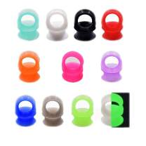 "Oyaface 22/24 PC Tunnel Soft Silicone Flesh Plug Eyelet 8G-1"" Flexible Ear Stretching Gauge Expander"