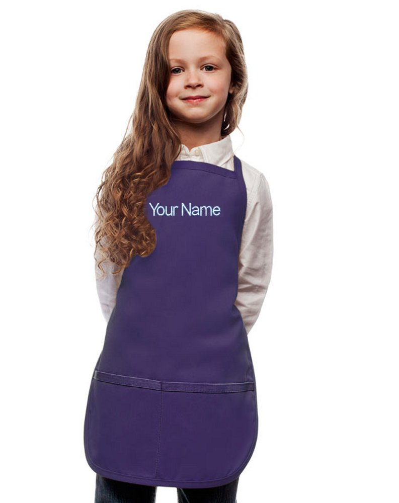 Personalized Purple Kids Apron, Poly/Cotton Twill Fabric