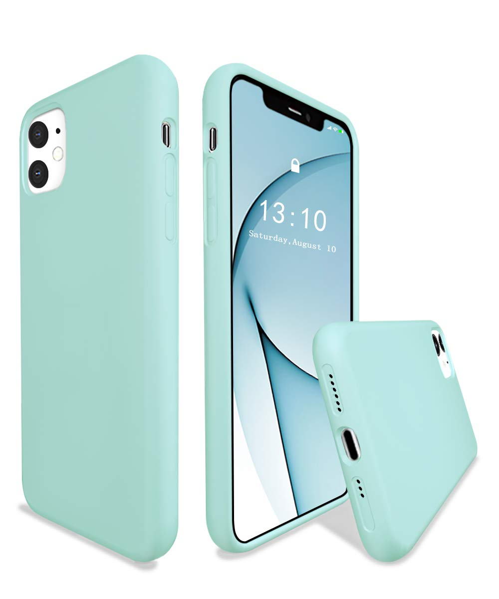 K TOMOTO for iPhone 11 Silicone Case 6.1 Inch, Full Body Liquid Gel Rubber iPhone 11 Protective Cases with Soft Microfiber Cloth Lining, Drop Protection Shockproof Armor Bumper Cover, Turquoise