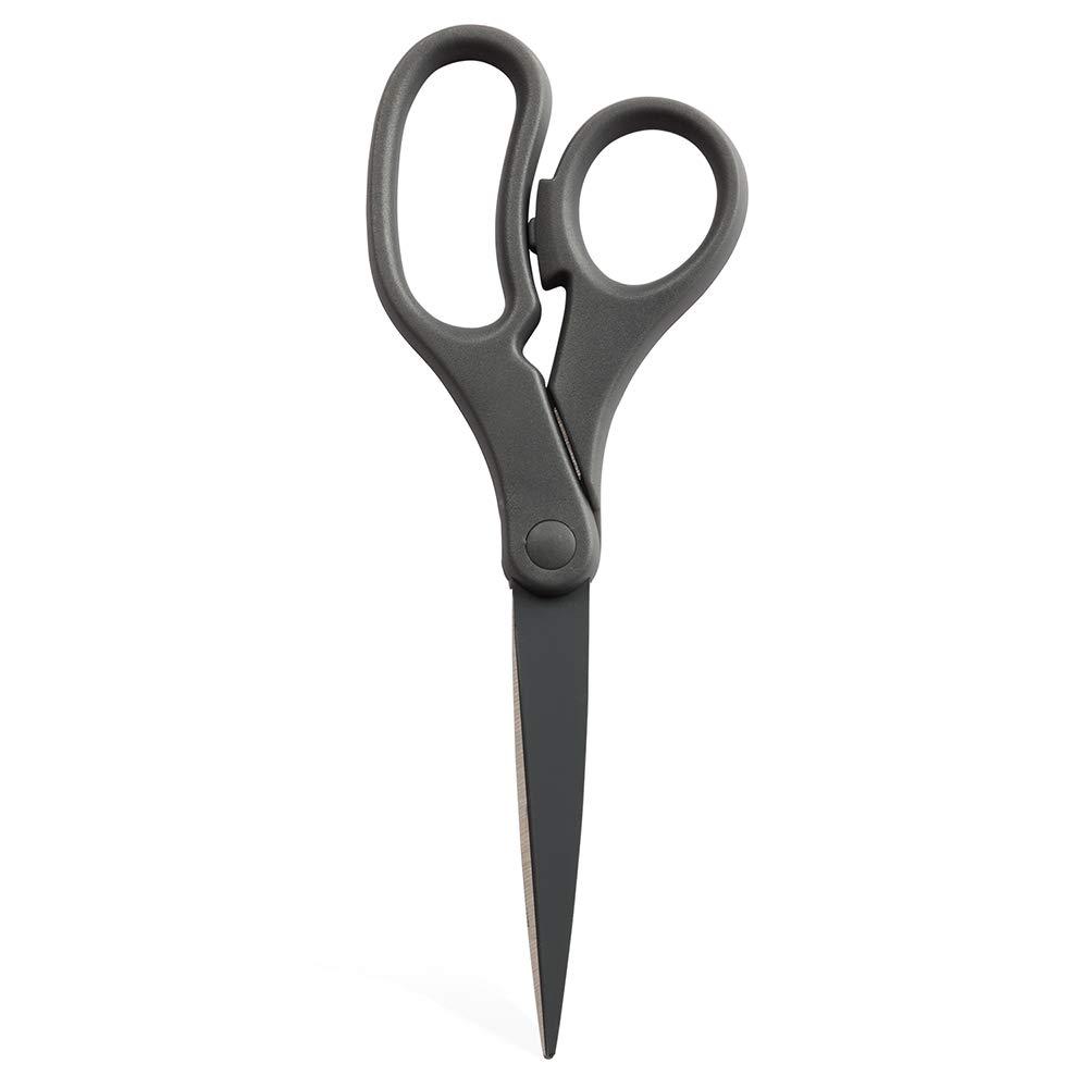 JAM PAPER Multi-Purpose Precision Scissors - 8 Inch - Grey - Ergonomic Handle & Stainless Steel Blades - Sold Individually
