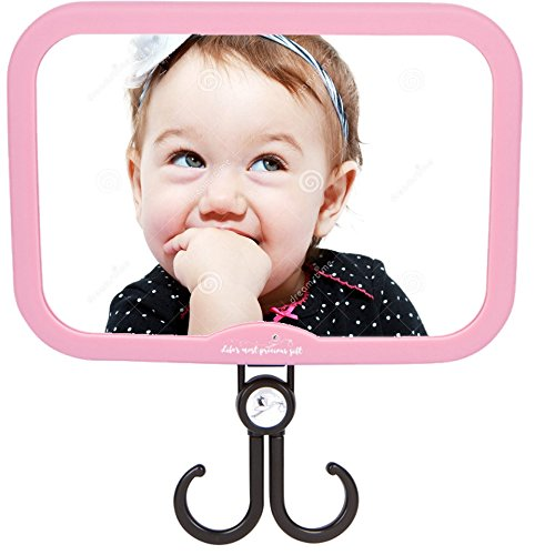 Baby Car Mirror for Girls - Pink Stork Style - with Accessories Hook. Best Back Seat View of Infant or Newborn in Rear-Facing Child Car Seat! Perfect Shower or Registry by Precious Gift