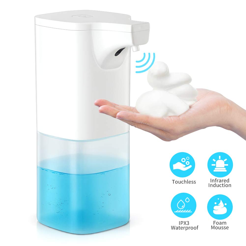 BAMMAX Automatic Soap Dispenser, Touchless Foaming Soap Dispenser 350ml Electric Auto Foam Soap Dispensing Infrared Sensor Liquid Dish Sanitizer Dispense Hand-Free Soap Pump for Bathroom Kitchen Offic