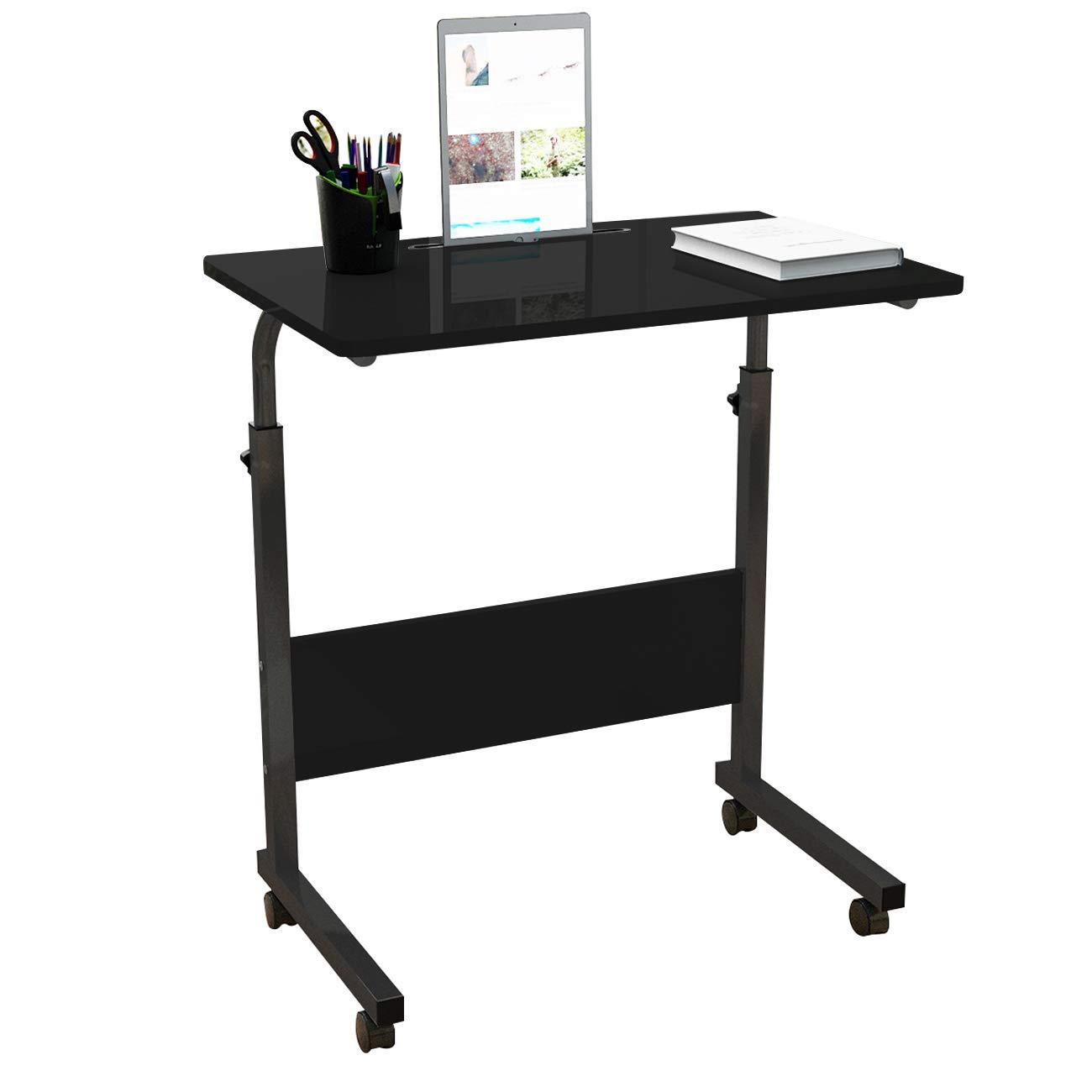 SogesHome 23.6 inch Adjustable Mobile Bed Table Portable Laptop Computer Stand Desks with Tablet Slot Cart Tray, Black, NSDUS-05-3-60BK