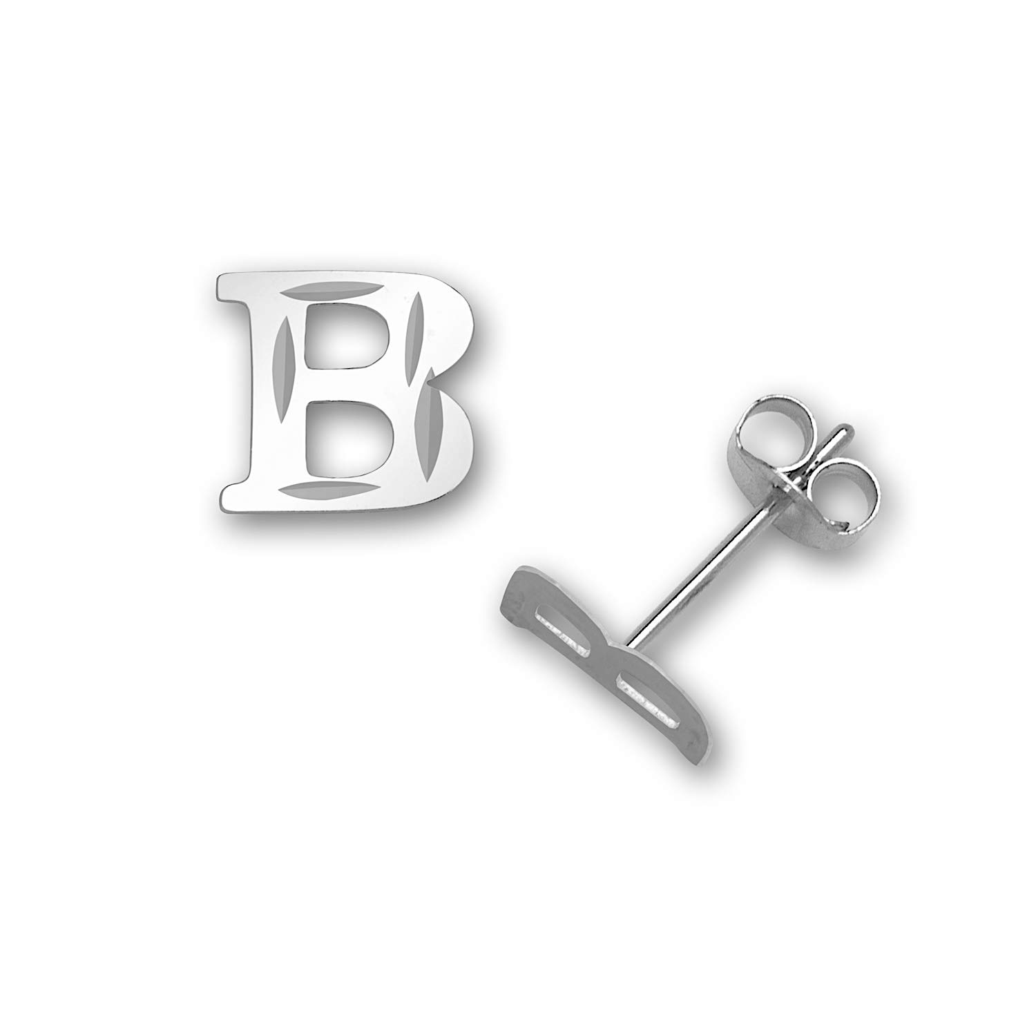 Jewelryweb Solid 14k White Gold Small Sparkle-cut Alphabet Initial Stud Earrings (select letters)