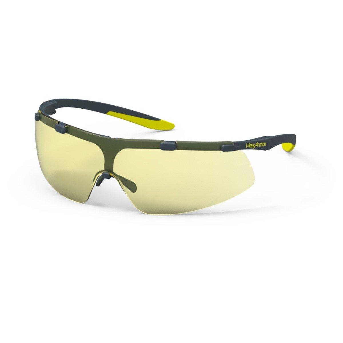 HexAmor VS200 Lightweight Amber Tint Anti Fog Safety Glasses