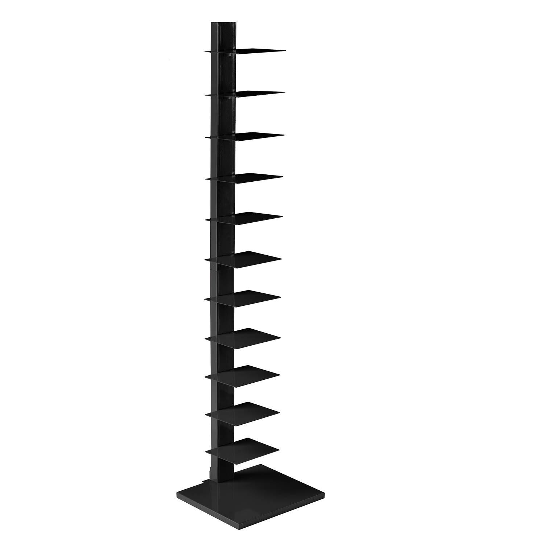 SEI Furniture Metal Spine Book Tower, Black
