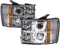 HEADLIGHTSDEPOT Halogen U-Bar LED Projector Headlights Compatible with GMC Sierra 1500 HD Classic 2500 3500 Includes Left Driver and Right Passenger Side Headlamps