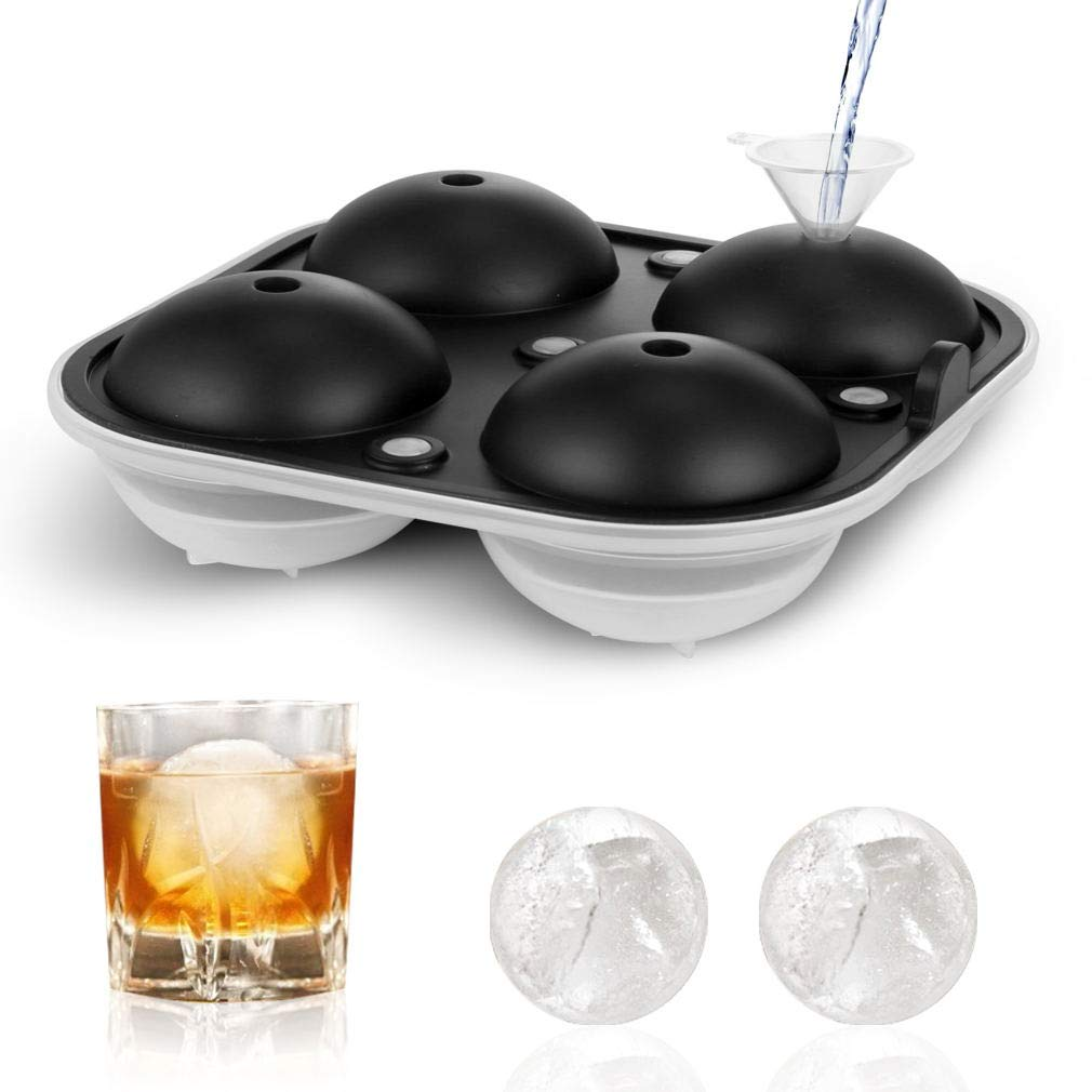 TGJOR Ice Cube Trays, Easy Release Ice Sphere Mold Tray with Silicone Lid, Large Square 2.5 Inch Ice Ball Maker for Whiskey, Cocktail or Homemade (Funnel Included) (one pack)