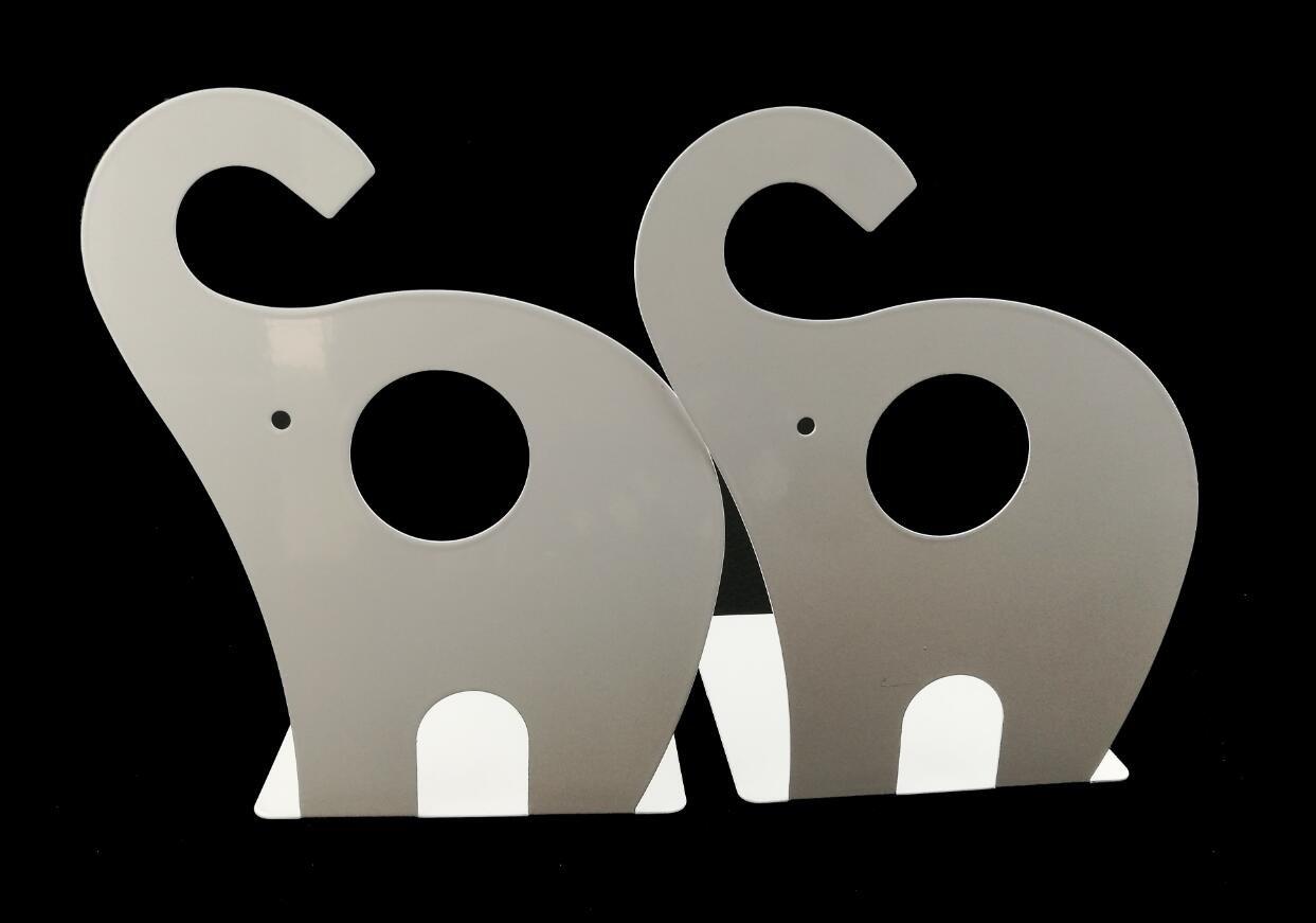 Winterworm Cartoon Cute Elephant Pattern Nonskid Metal Office Desk Bookends (White)