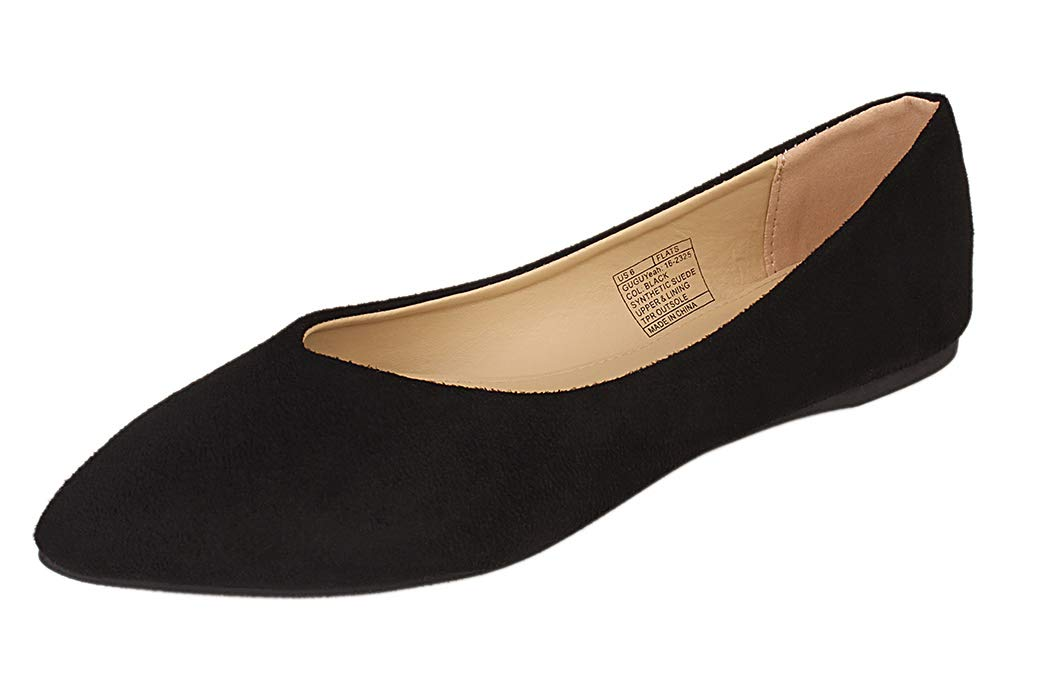 GUGUYeah Women's Fashion Casual Pointed Toe Flats Shoes Black US Size 7.5