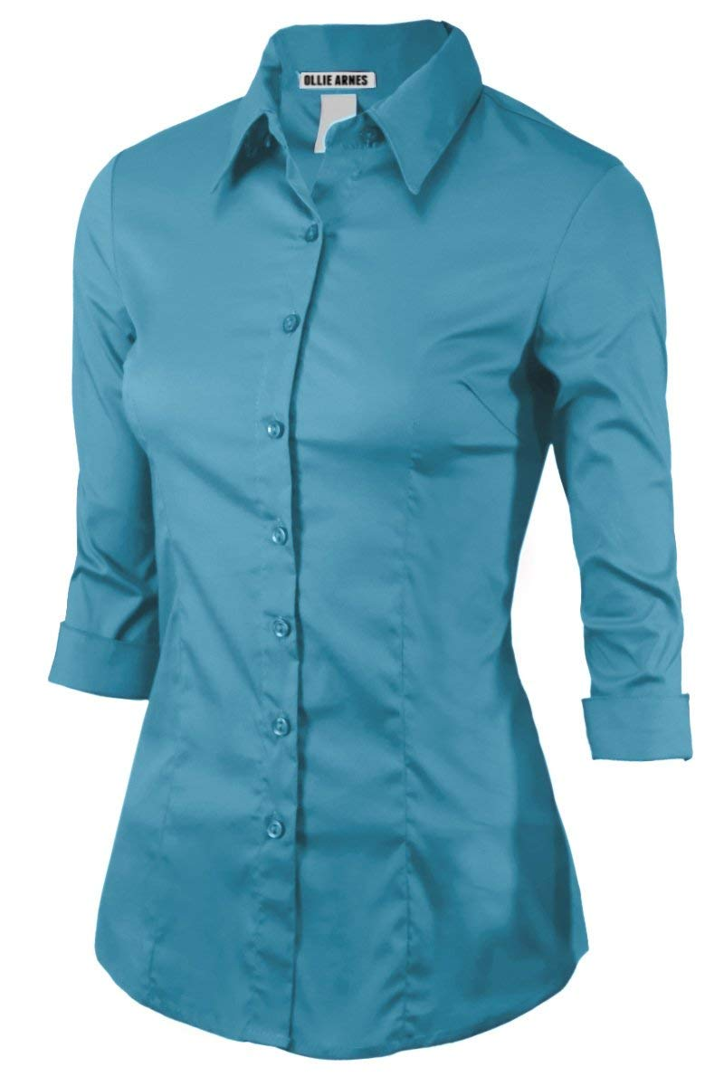 Women 3/4Sleeve Office Casual Button Down Blouse Shirt Junior PlusSize(Up to 6X)